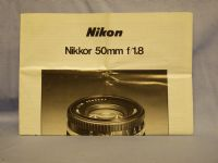Nikon 50mm 1.8 -ORIGINAL MAKERS- Instructions £2.49